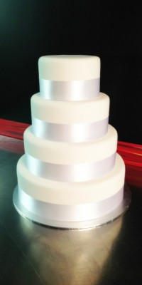 Four Teired White Iced Wedding Cake