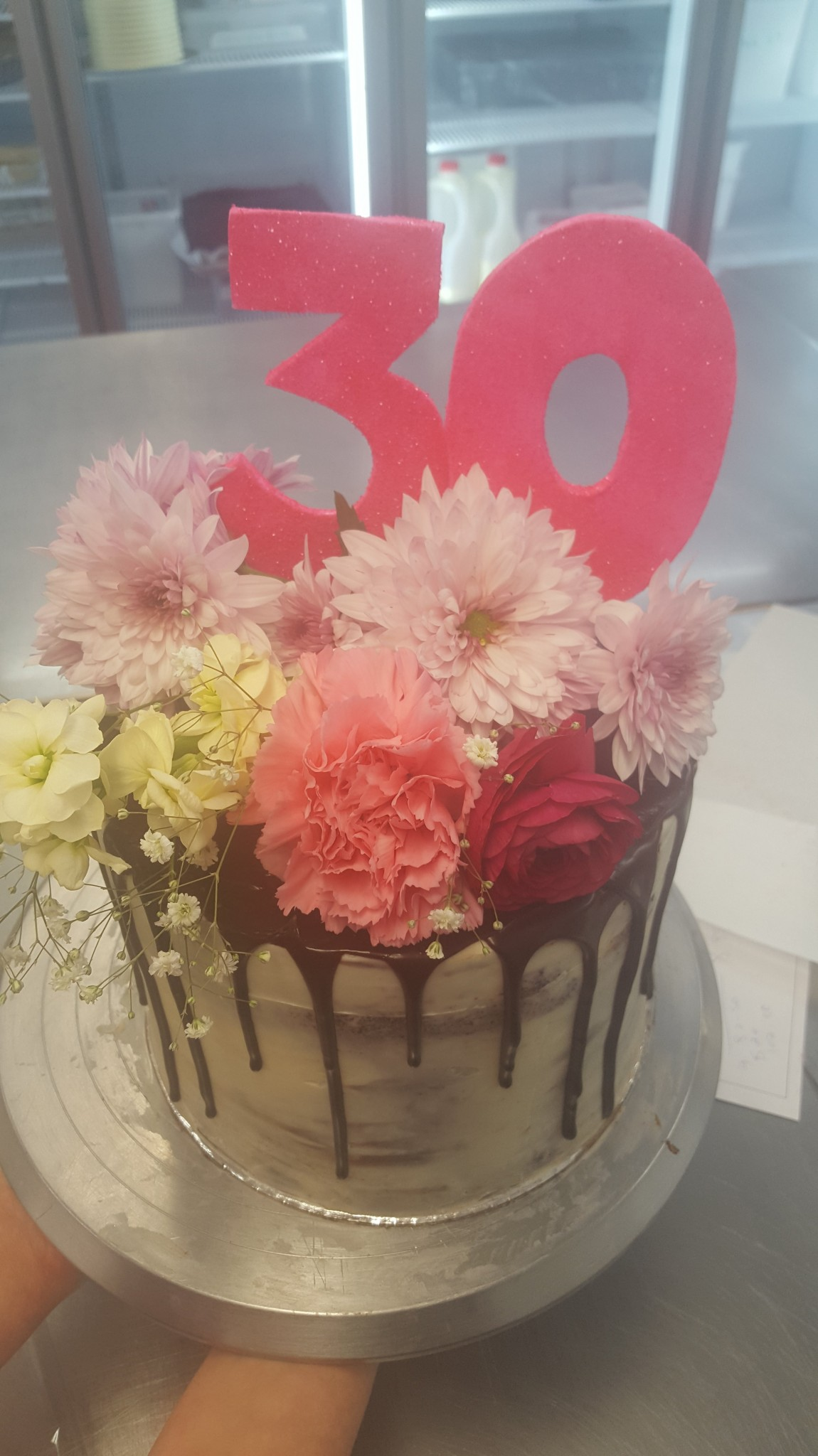 Gold Cake With Flowers For Th Birthday