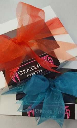 Chocolates Boxes Red and Blue Ribbons